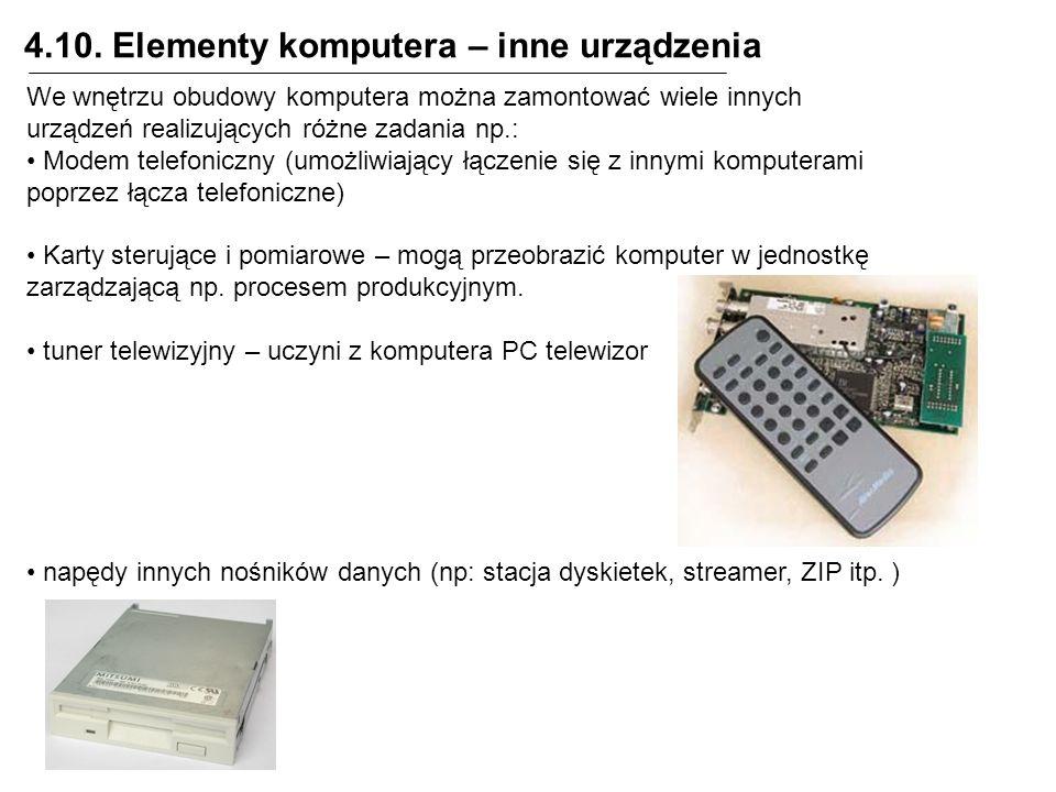 4.10. Elementy komputera – inne urządzenia