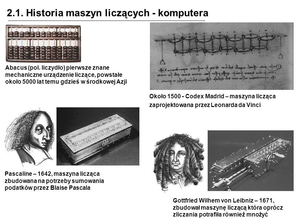 2.1. Historia maszyn liczących - komputera