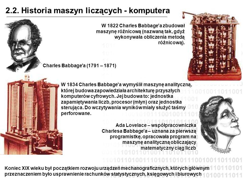 2.2. Historia maszyn liczących - komputera