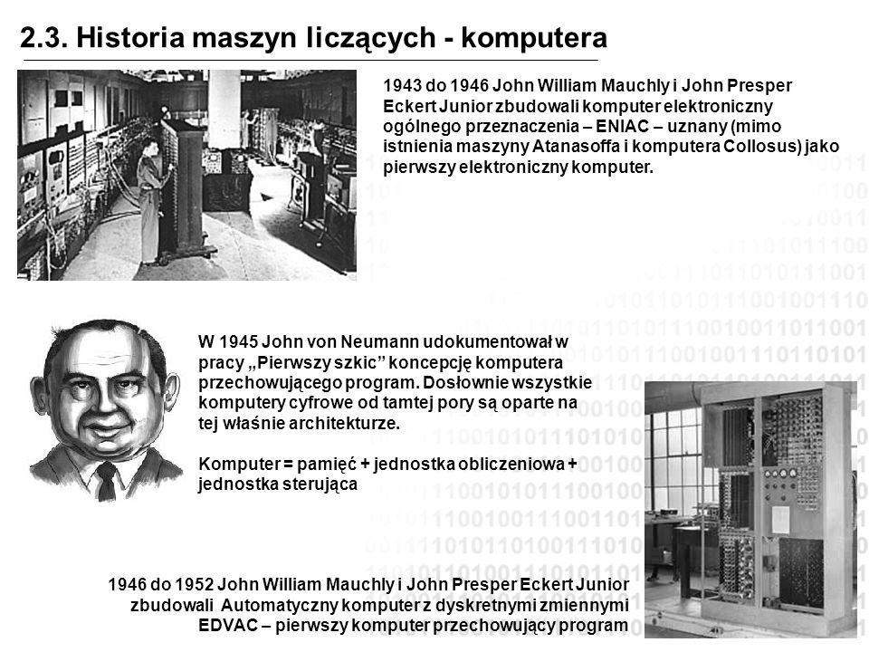 2.3. Historia maszyn liczących - komputera