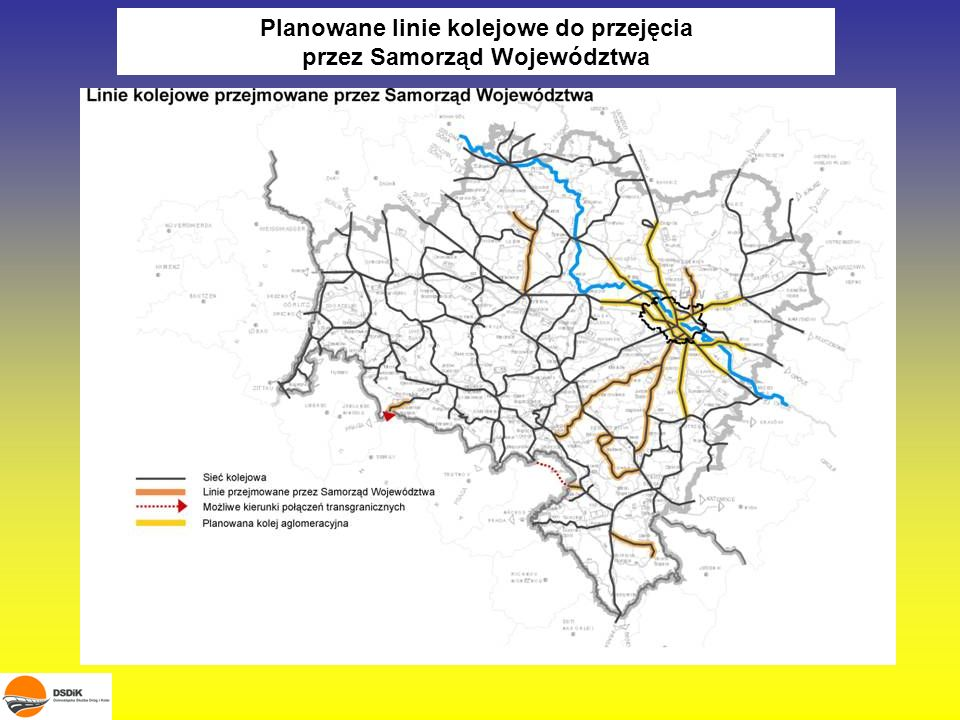 Planowane linie kolejowe do przejęcia przez Samorząd Województwa