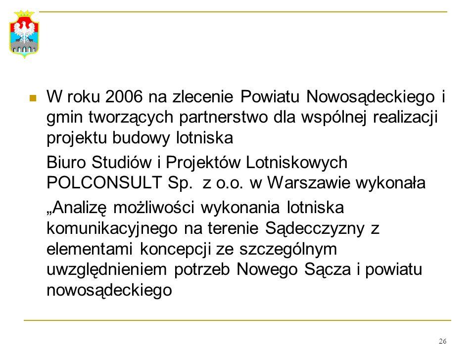 W roku 2006 na zlecenie Powiatu Nowosądeckiego i gmin tworzących partnerstwo dla wspólnej realizacji projektu budowy lotniska