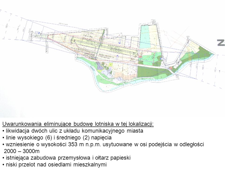 Uwarunkowania eliminujące budowę lotniska w tej lokalizacji:
