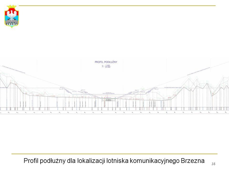 Profil podłużny dla lokalizacji lotniska komunikacyjnego Brzezna