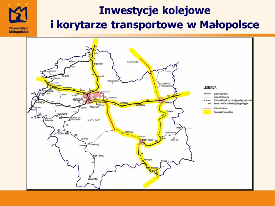 Inwestycje kolejowe i korytarze transportowe w Małopolsce