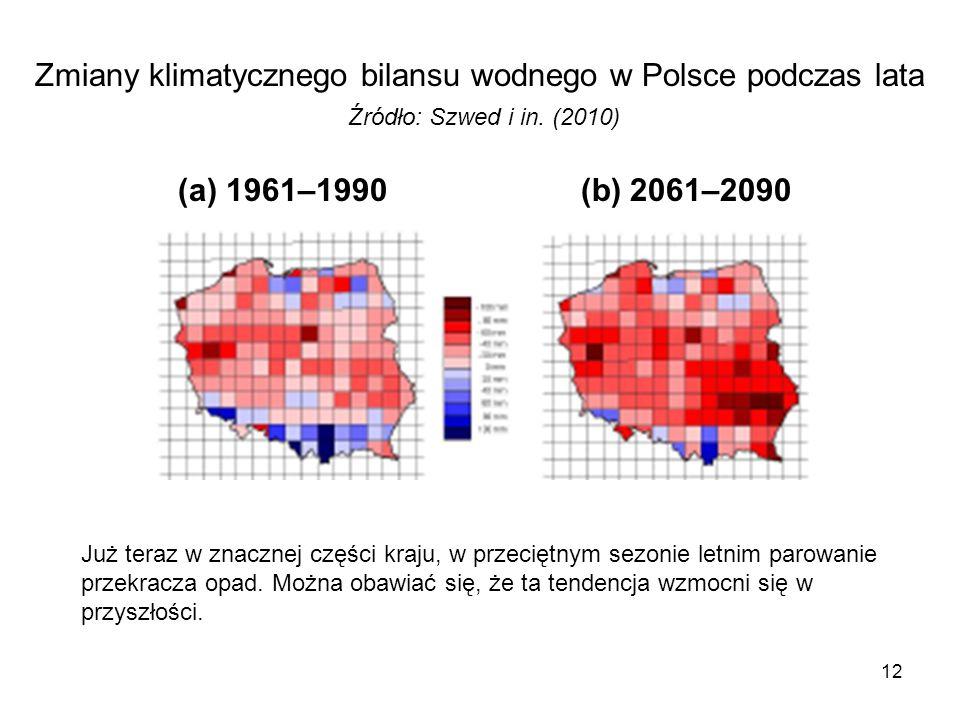 Zmiany klimatycznego bilansu wodnego w Polsce podczas lata