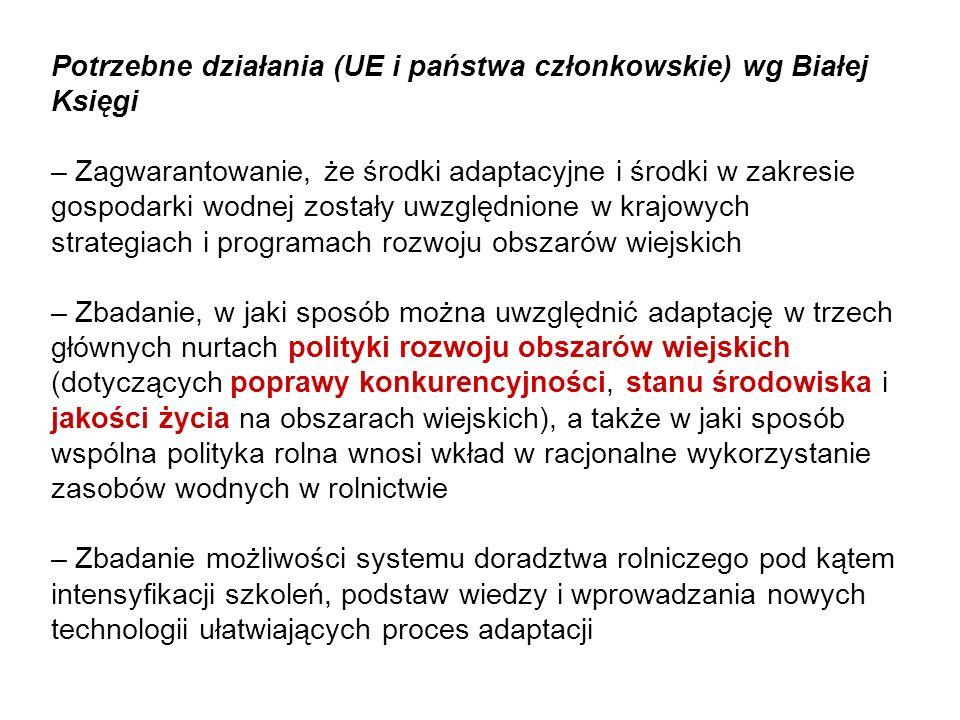 Potrzebne działania (UE i państwa członkowskie) wg Białej Księgi