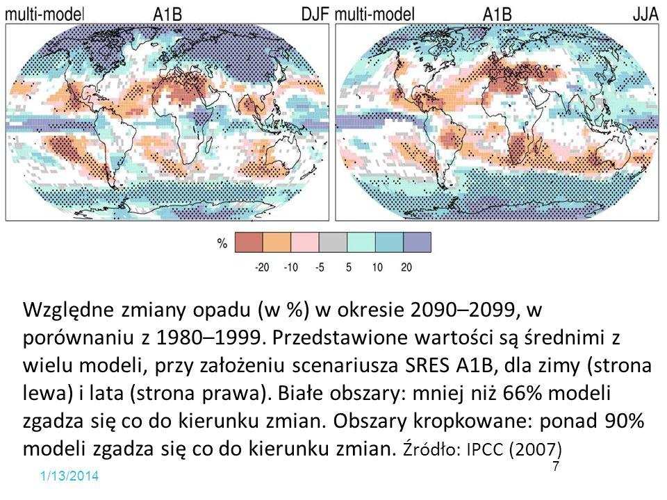 Względne zmiany opadu (w %) w okresie 2090–2099, w porównaniu z 1980–1999. Przedstawione wartości są średnimi z wielu modeli, przy założeniu scenariusza SRES A1B, dla zimy (strona lewa) i lata (strona prawa). Białe obszary: mniej niż 66% modeli zgadza się co do kierunku zmian. Obszary kropkowane: ponad 90% modeli zgadza się co do kierunku zmian. Źródło: IPCC (2007)