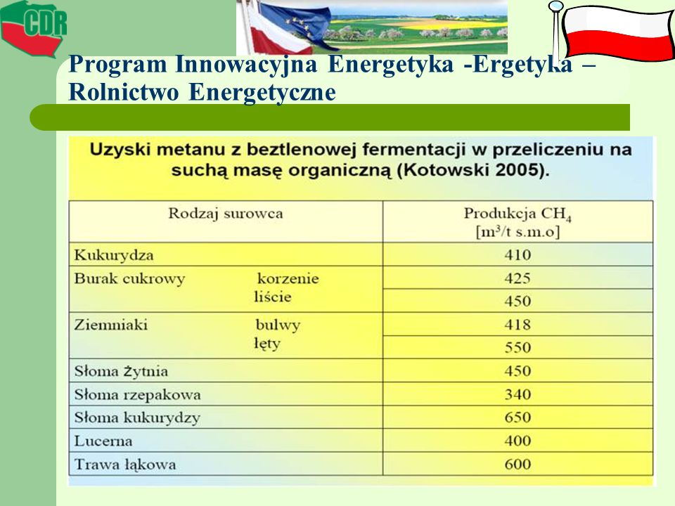 Program Innowacyjna Energetyka -Ergetyka – Rolnictwo Energetyczne