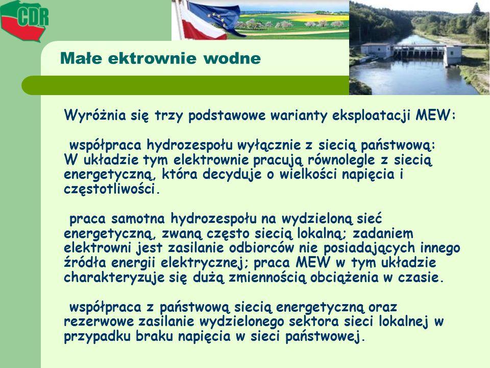 Małe ektrownie wodne Wyróżnia się trzy podstawowe warianty eksploatacji MEW: współpraca hydrozespołu wyłącznie z siecią państwową: