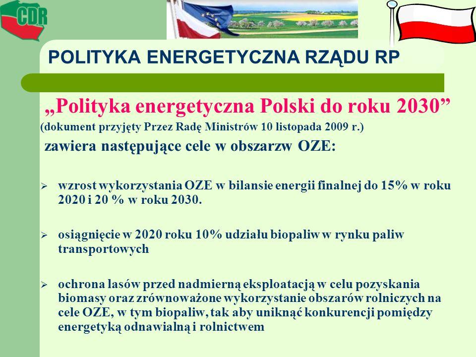 POLITYKA ENERGETYCZNA RZĄDU RP