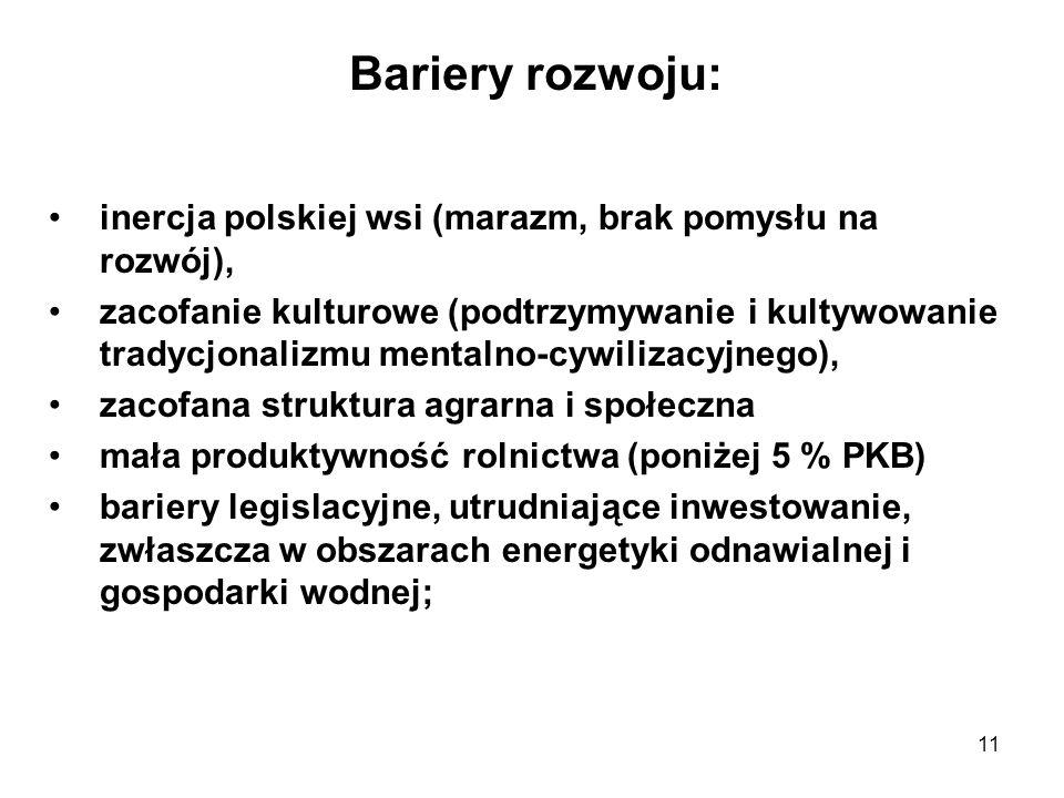 Bariery rozwoju: inercja polskiej wsi (marazm, brak pomysłu na rozwój),