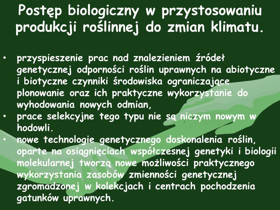 Postęp biologiczny w przystosowaniu produkcji roślinnej do zmian klimatu.