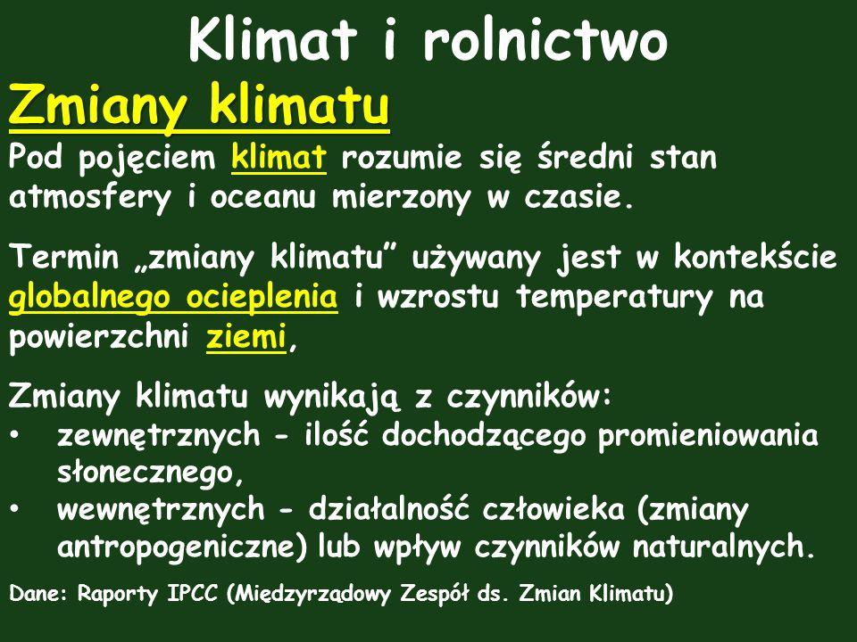 Klimat i rolnictwo Zmiany klimatu