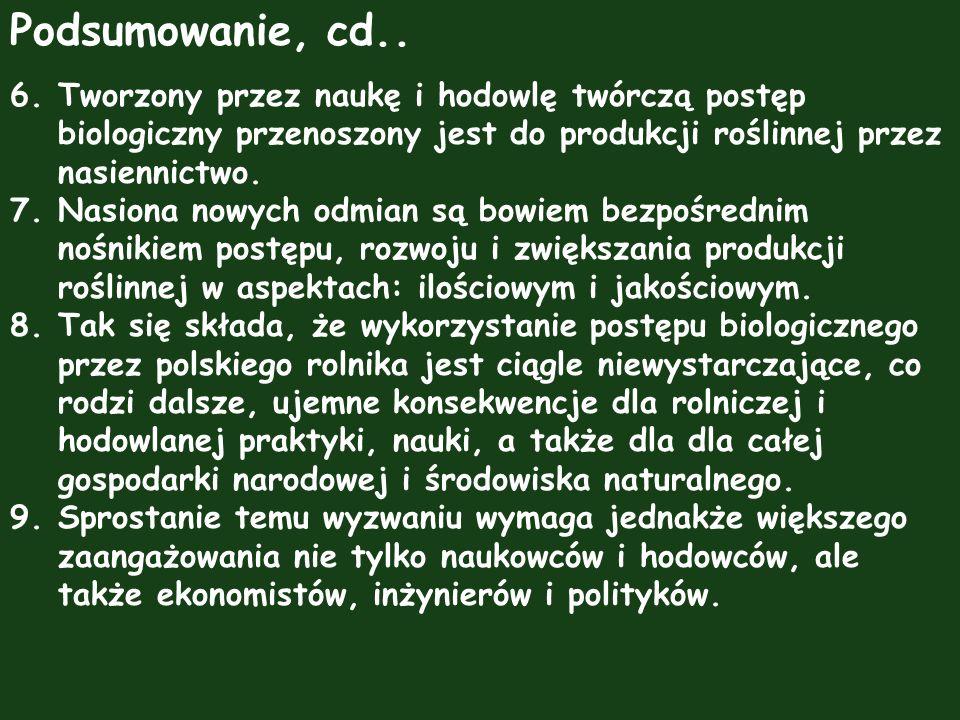 Podsumowanie, cd.. 6. Tworzony przez naukę i hodowlę twórczą postęp biologiczny przenoszony jest do produkcji roślinnej przez nasiennictwo.