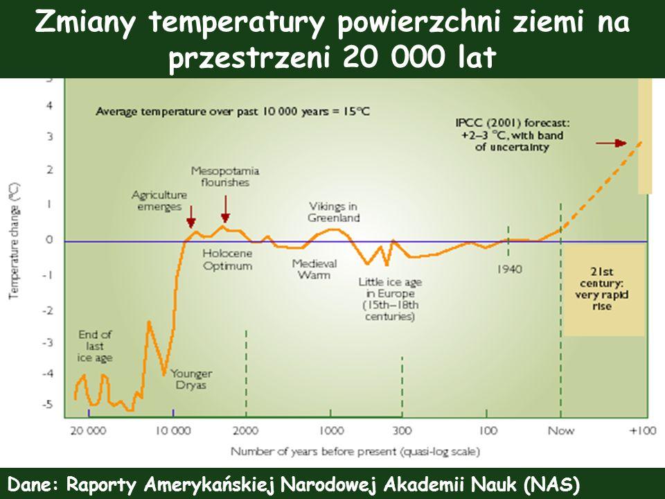 Zmiany temperatury powierzchni ziemi na przestrzeni 20 000 lat