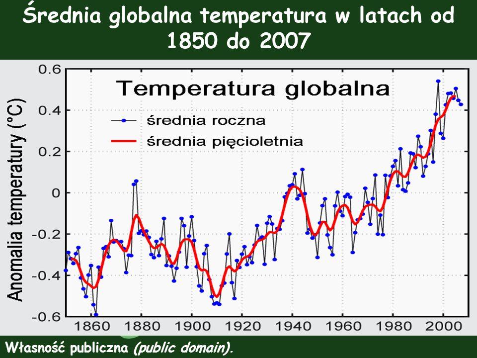 Średnia globalna temperatura w latach od 1850 do 2007