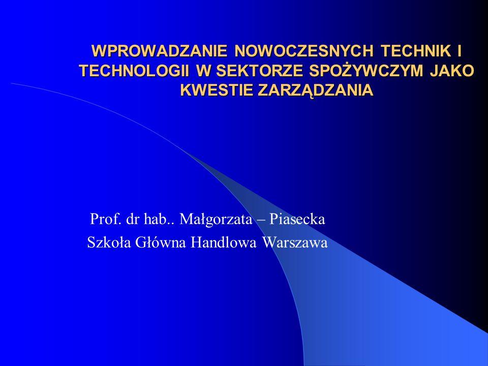 Prof. dr hab.. Małgorzata – Piasecka Szkoła Główna Handlowa Warszawa
