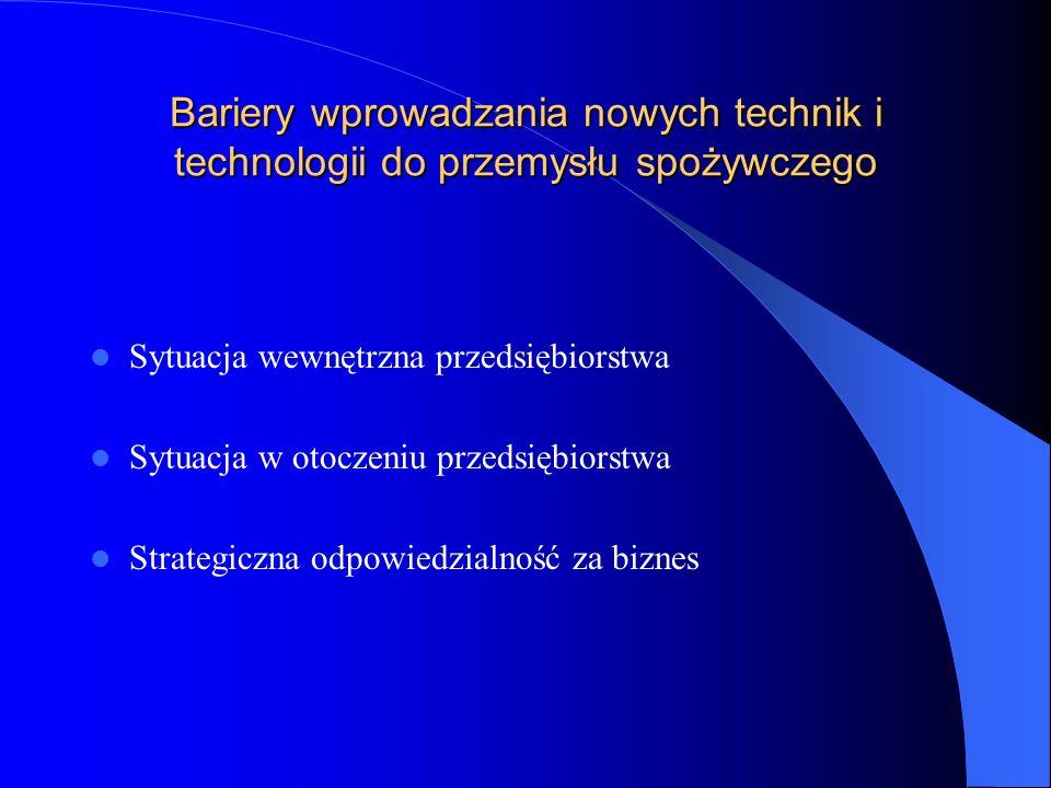 Bariery wprowadzania nowych technik i technologii do przemysłu spożywczego