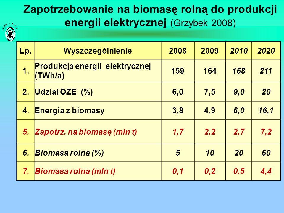 Zapotrzebowanie na biomasę rolną do produkcji energii elektrycznej (Grzybek 2008)