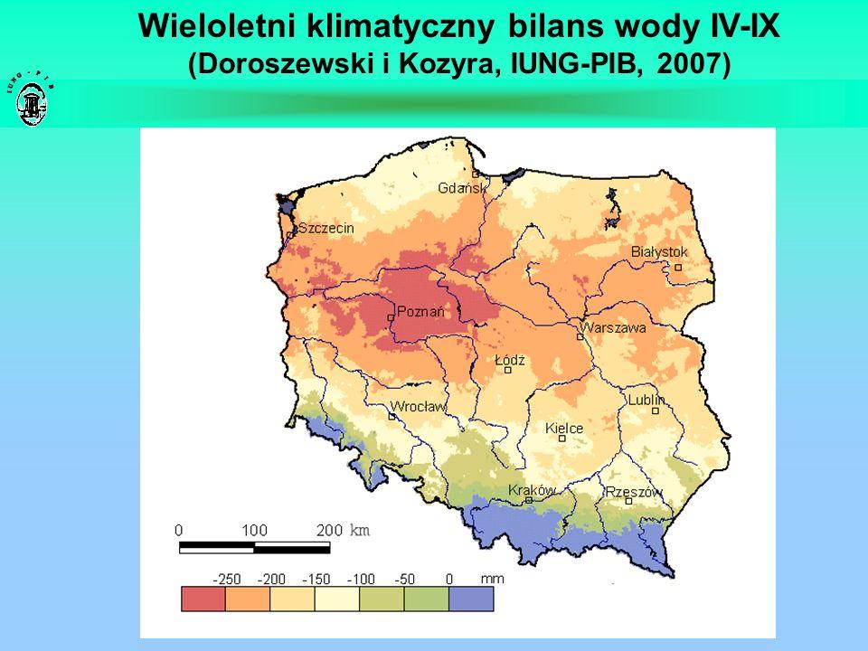 Wieloletni klimatyczny bilans wody IV-IX (Doroszewski i Kozyra, IUNG-PIB, 2007)