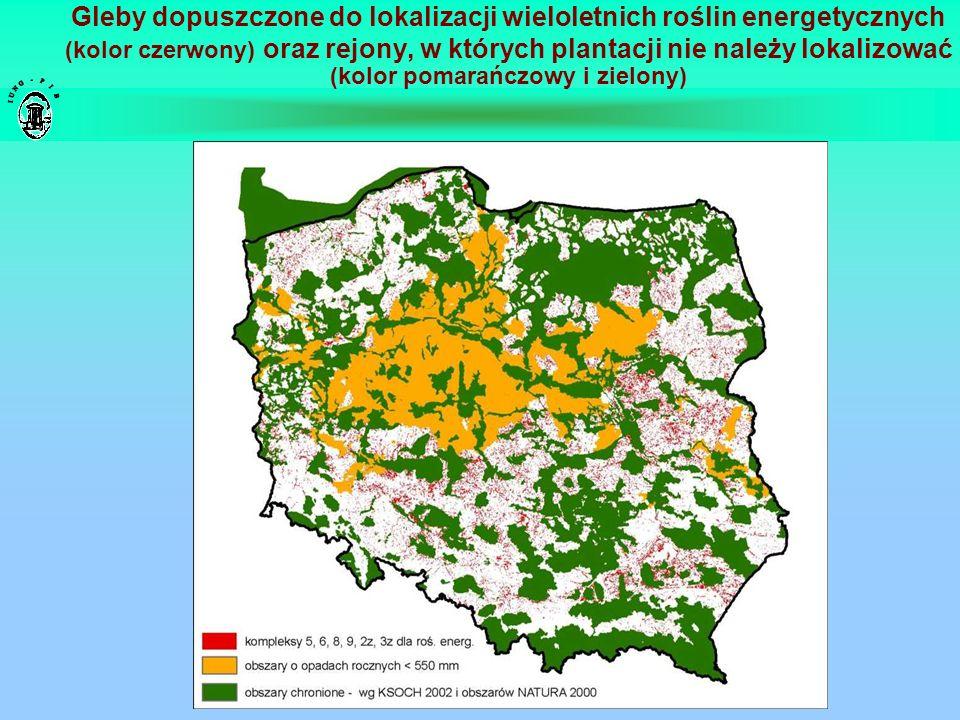 Gleby dopuszczone do lokalizacji wieloletnich roślin energetycznych (kolor czerwony) oraz rejony, w których plantacji nie należy lokalizować (kolor pomarańczowy i zielony)