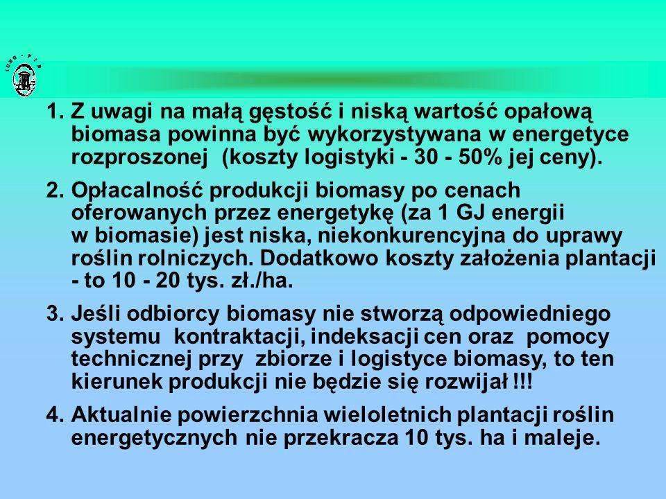 Z uwagi na małą gęstość i niską wartość opałową biomasa powinna być wykorzystywana w energetyce rozproszonej (koszty logistyki - 30 - 50% jej ceny).