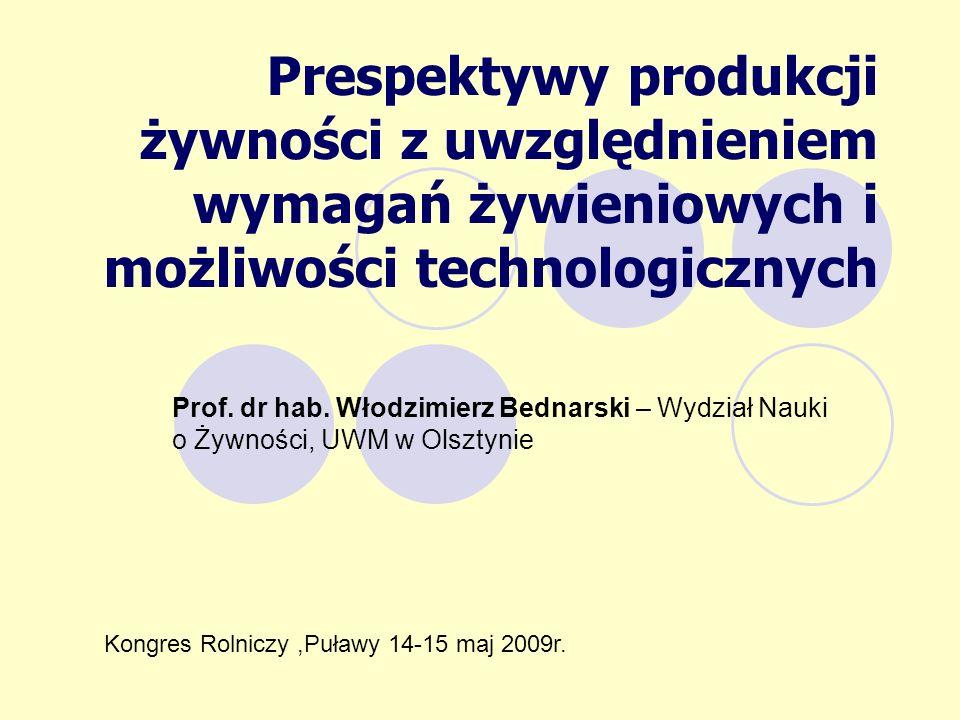 Prespektywy produkcji żywności z uwzględnieniem wymagań żywieniowych i możliwości technologicznych