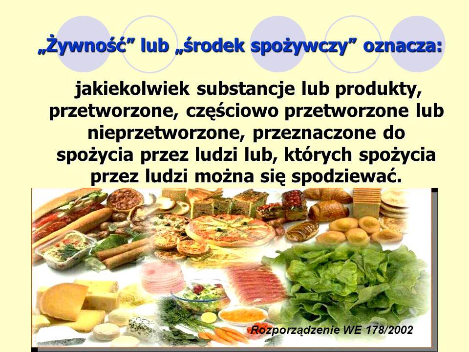 """""""Żywność lub """"środek spożywczy oznacza:"""