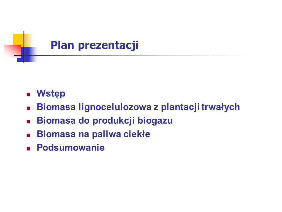 Plan prezentacji Wstęp Biomasa lignocelulozowa z plantacji trwałych