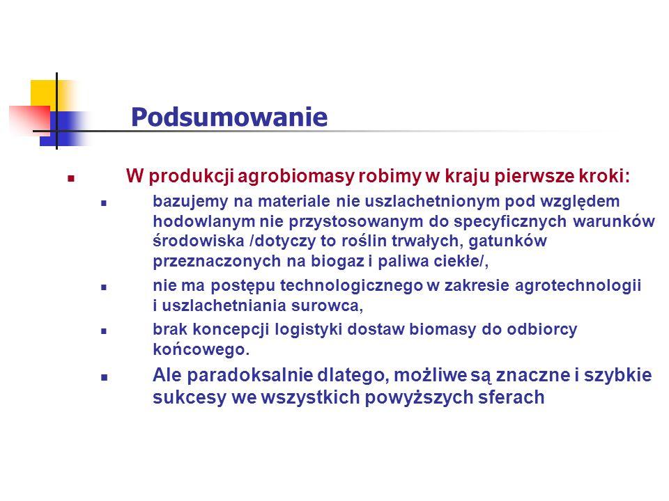 Podsumowanie W produkcji agrobiomasy robimy w kraju pierwsze kroki: