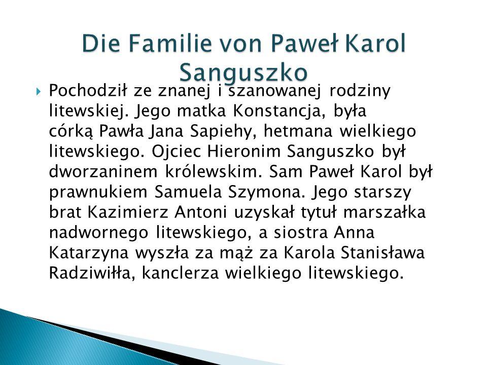 Die Familie von Paweł Karol Sanguszko