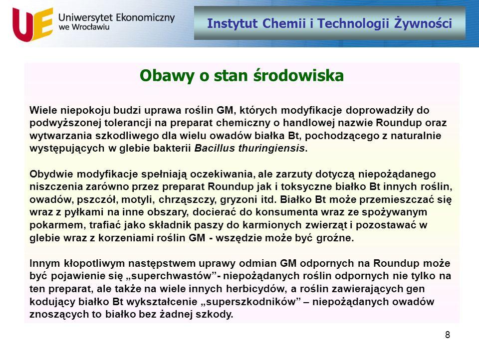 Instytut Chemii i Technologii Żywności Obawy o stan środowiska