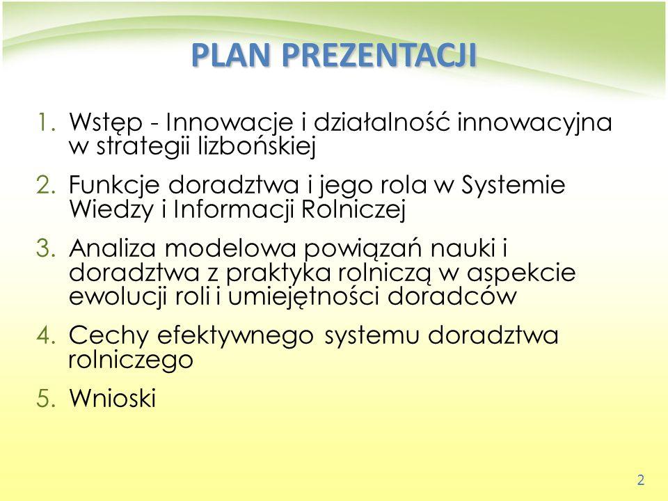 PLAN PREZENTACJI Wstęp - Innowacje i działalność innowacyjna w strategii lizbońskiej.