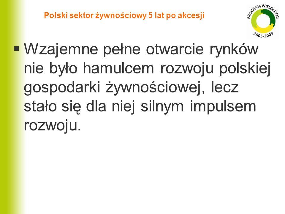 Polski sektor żywnościowy 5 lat po akcesji