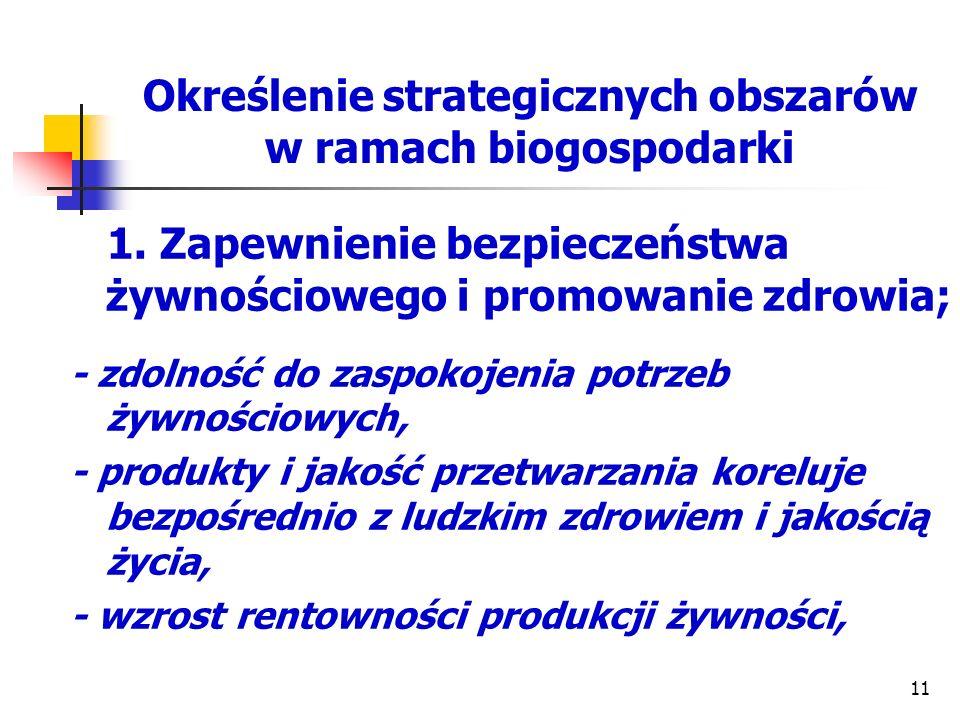 Określenie strategicznych obszarów w ramach biogospodarki