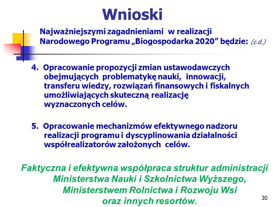 """Wnioski Najważniejszymi zagadnieniami w realizacji Narodowego Programu """"Biogospodarka 2020 będzie: (c.d.)"""