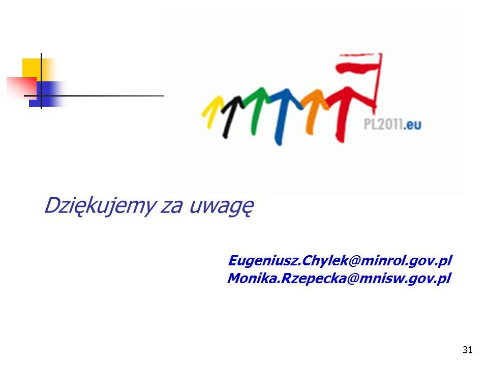 Dziękujemy za uwagę Eugeniusz. Chylek@minrol. gov. pl Monika