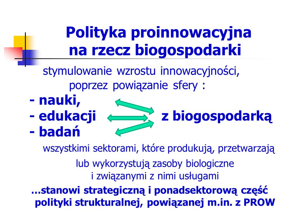 Polityka proinnowacyjna na rzecz biogospodarki