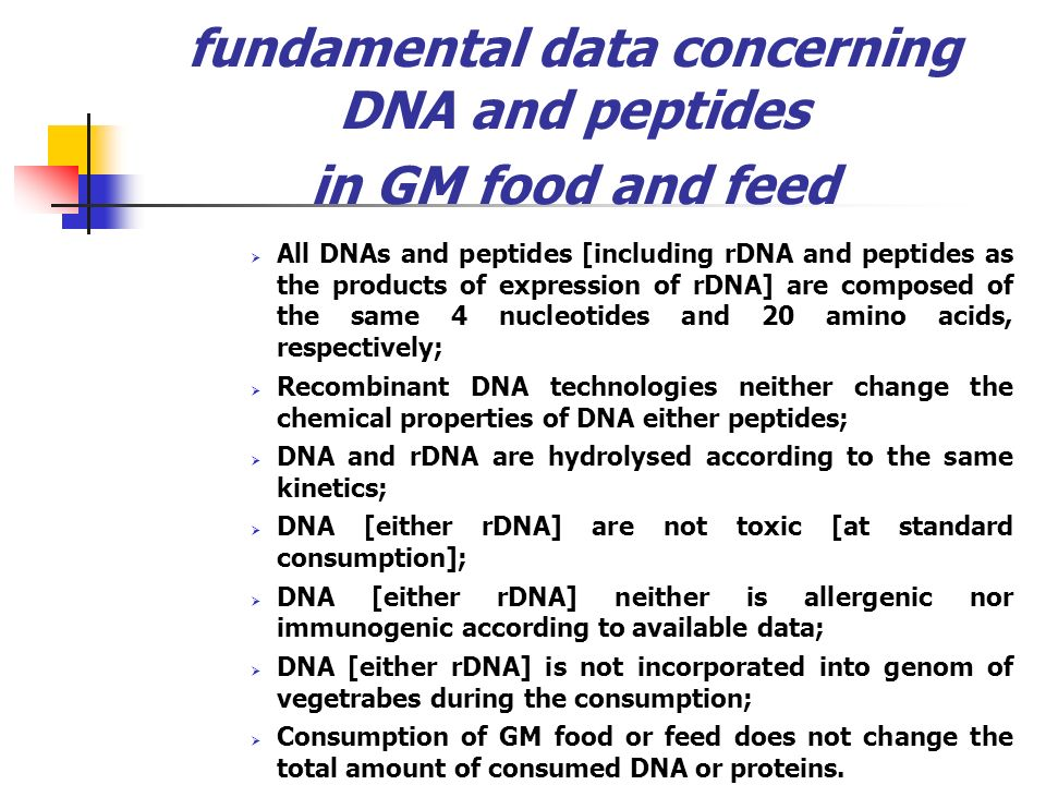 fundamental data concerning DNA and peptides in GM food and feed