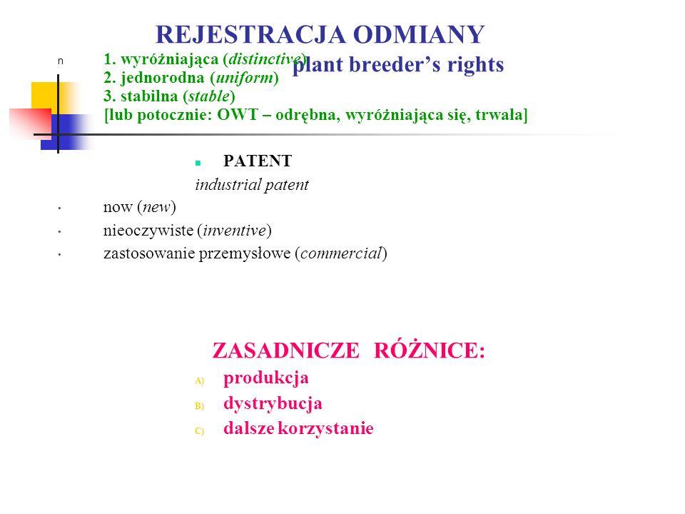 REJESTRACJA ODMIANY plant breeder's rights