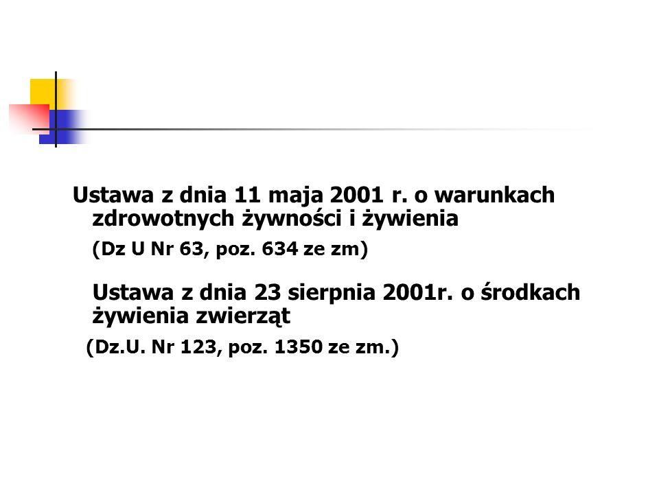 Ustawa z dnia 11 maja 2001 r. o warunkach zdrowotnych żywności i żywienia
