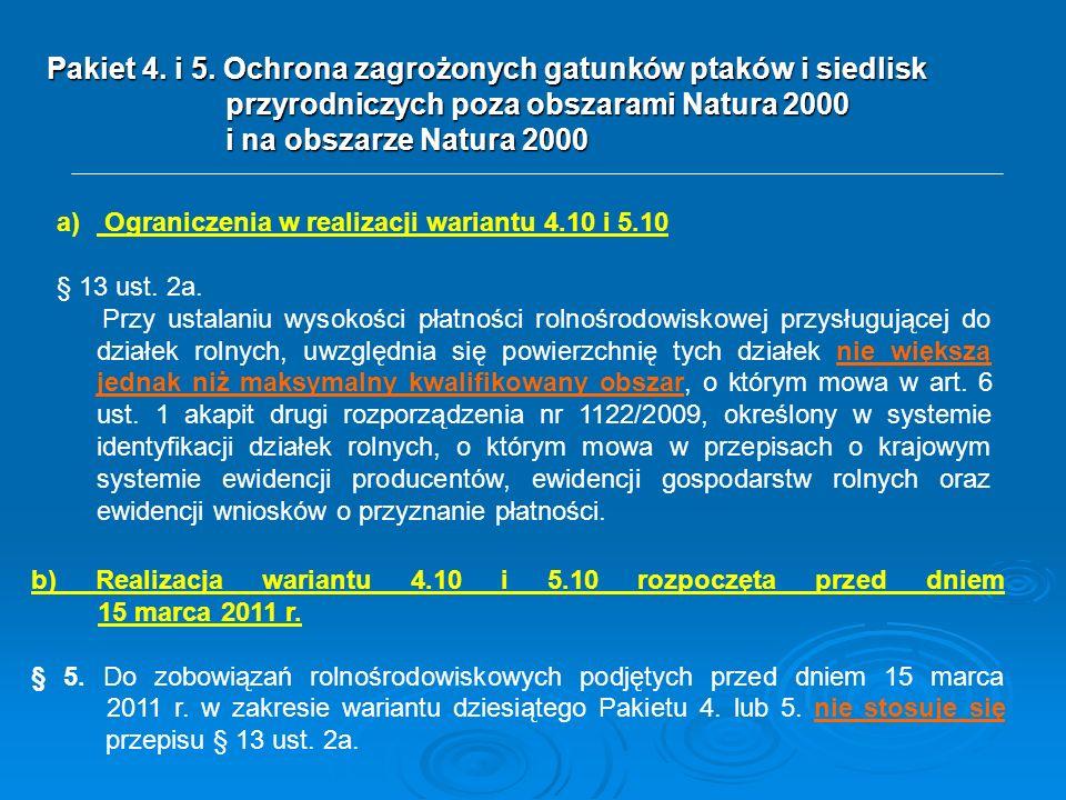 Pakiet 4. i 5. Ochrona zagrożonych gatunków ptaków i siedlisk przyrodniczych poza obszarami Natura 2000 i na obszarze Natura 2000