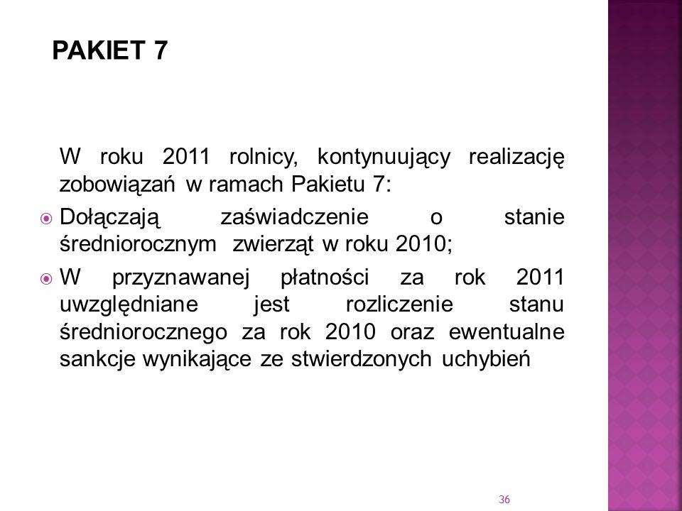 PAKIET 7W roku 2011 rolnicy, kontynuujący realizację zobowiązań w ramach Pakietu 7: