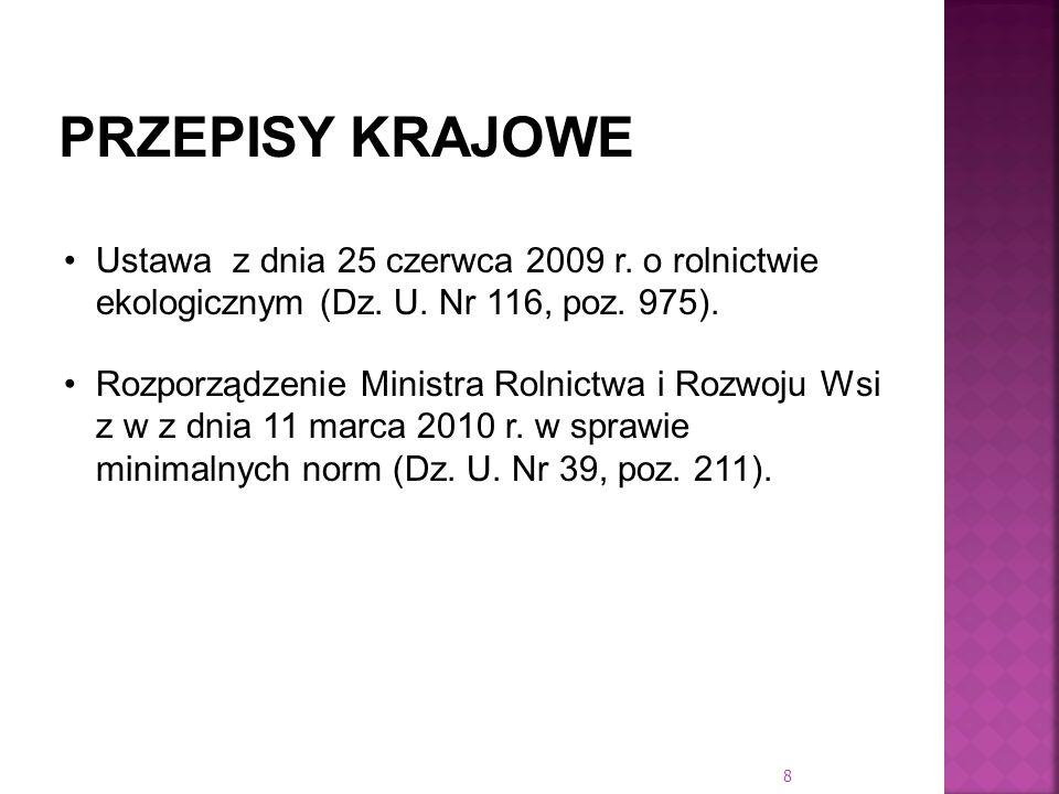 PRZEPISY KRAJOWEUstawa z dnia 25 czerwca 2009 r. o rolnictwie ekologicznym (Dz. U. Nr 116, poz. 975).
