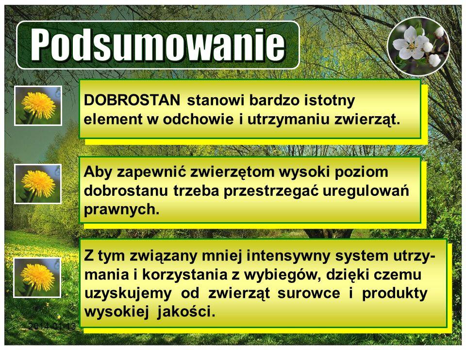 Podsumowanie DOBROSTAN stanowi bardzo istotny element w odchowie i utrzymaniu zwierząt.