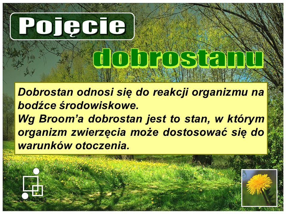 Pojęcie dobrostanu. Dobrostan odnosi się do reakcji organizmu na bodźce środowiskowe.