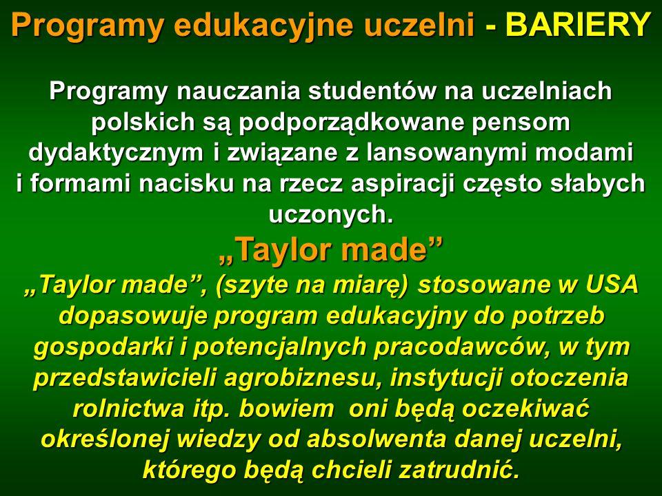 Programy edukacyjne uczelni - BARIERY