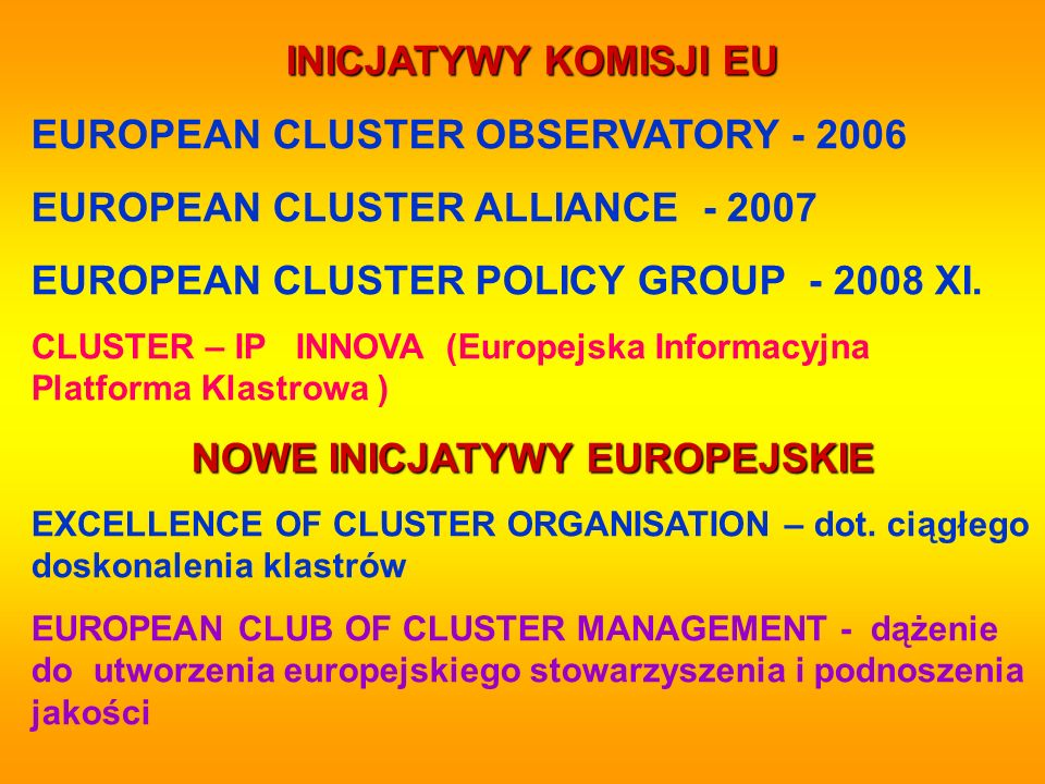 NOWE INICJATYWY EUROPEJSKIE