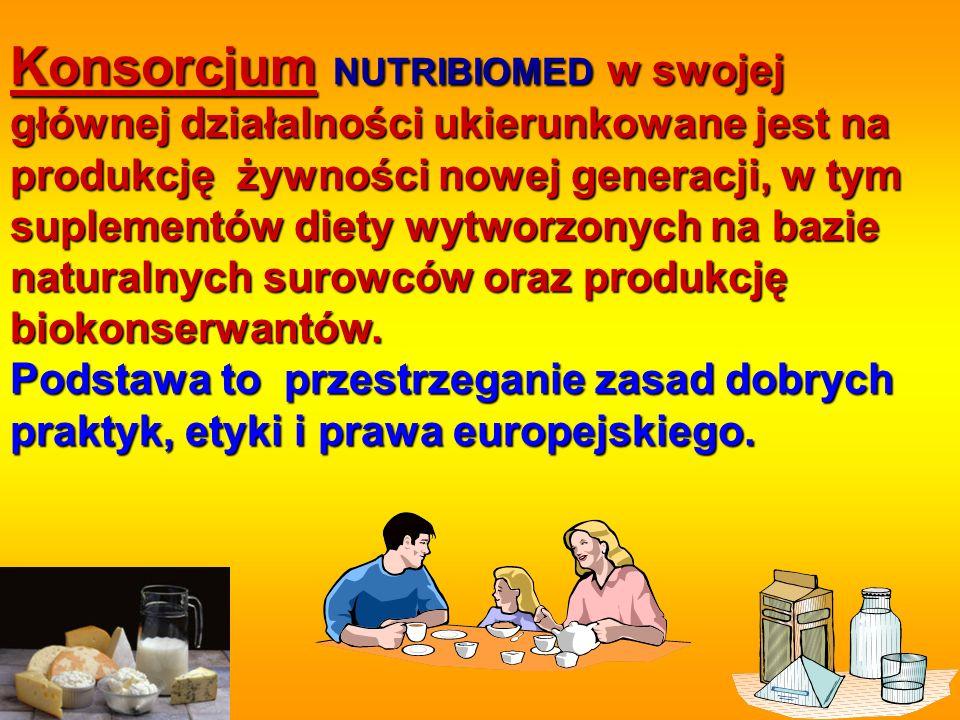Konsorcjum NUTRIBIOMED w swojej głównej działalności ukierunkowane jest na produkcję żywności nowej generacji, w tym suplementów diety wytworzonych na bazie naturalnych surowców oraz produkcję biokonserwantów.
